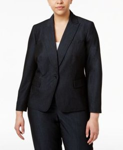 Plus Size Denim Twill One-Button Blazer