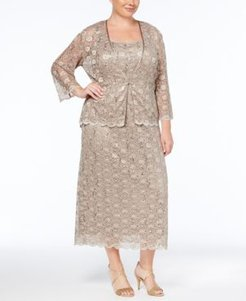Plus Size Sleeveless Sequined Lace Dress and Jacket