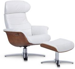 """Anniston 31"""" Leather Swivel Chair Recliner & Ottoman Set"""