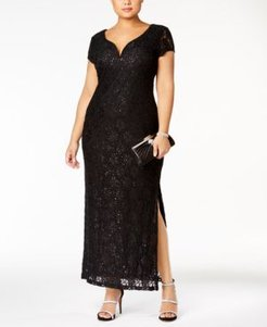 Plus Size Sequined Lace Gown