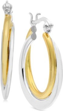 Small Two-Tone Polished Double Small Hoop Earrings s in Gold- and Silver-Plate
