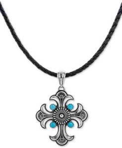 """Turquoise Cross Braided Leather Pendant Necklace (1-3/4 ct. t.w.) in Sterling Silver, 16"""" + 2"""" extender"""