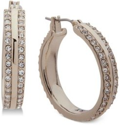 """""""Small Gold-Tone Pave Small Hoop Earrings 1"""", Created for Macy's"""