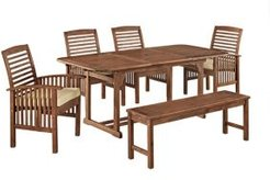 6-Piece Acacia Wood Outdoor Patio Dining Set with Cushions - Dark Brown