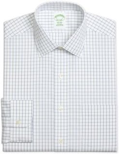 Milano Extra-Slim Fit Non-Iron Pinpoint Windowpane Blue Dress Shirt