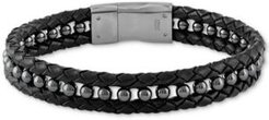 Hematite (4mm) Black Leather Braided Bracelet in Matte Stainless Steel (Also in Red Tiger's Eye), Created for Macy's