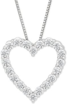 "Lab Grown Diamond Heart 18"" Pendant Necklace (1/2 ct. t.w.) in 14k White Gold"