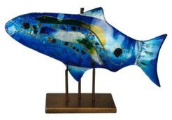 """18"""" x 10"""" Blue Fish, Gold Kissed Stand"""