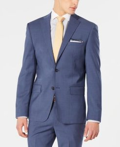 Modern-Fit Stretch Blue Mini-Check Suit Jacket