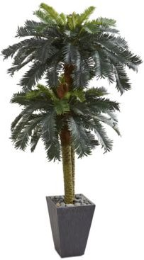 6' Double Sago Palm Artificial Tree in Slate-Finish Planter