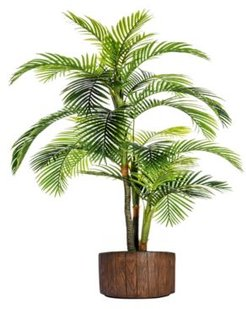 """88.8"""" Tall Palm Tree Artificial Indoor/ Outdoor Lifelike Faux In 12.8"""" Brown Wood-like Fiberstone Planter"""