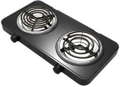 Electric Easily Portable Ultra Lightweight Dual Coil Burner Cooktop Buffet Range in Matte Black