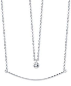 """Cubic Zirconia Pendant & Curved Bar Layered Necklace in Sterling Silver, 16"""" + 2"""" extender"""