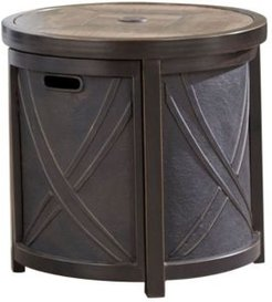 """25"""" Round Umbrella Side Table with Tile Tabletop - 23"""" x 25"""" x 93.7"""""""