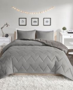 Kai Full/Queen Solid Chevron Quilted Reversible Microfiber to Cozy Plush 3 Piece Comforter Mini Set Bedding