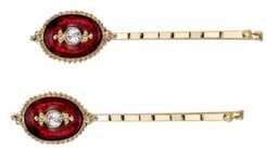 Gold-Tone Crystal and Red Enamel Bobby Pins Set