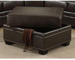 Louis Traditional Upholstered Storage Ottoman with Antique Brass Nail Head Trim
