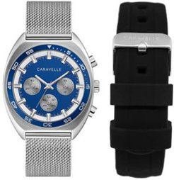 Designed by Bulova Men's Chronograph Stainless Steel Mesh Bracelet Watch 40mm Box Set