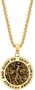 """Saint Christopher"" Coin 24"" Pendant Necklace in Gold-Tone Stainless Steel"