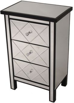 Heather Ann Emmy Mirrored Accent Cabinet with 3 Drawers