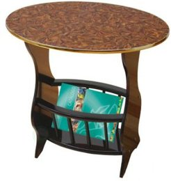Oval Side Table with Magazine Holder