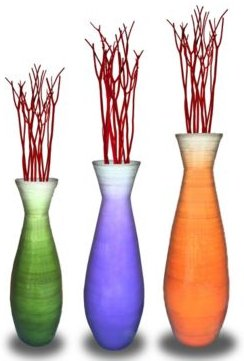 Tall Bamboo Floor Vases, Set of 3