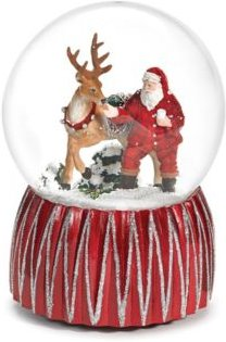 Musical Glitter Dome with Santa and Reindeer