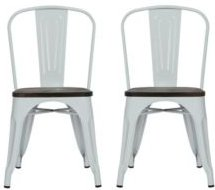 Zeno Metal Dining Chairs with Wood Seats, Set of 2