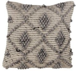 "Wool Blend Throw Pillow with Knotted Diamond Design, 18"" x 18"""