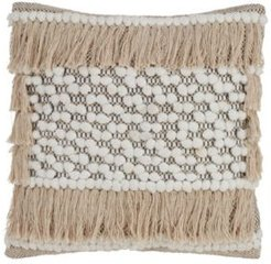 """Throw Pillow with Fringe Moroccan Design, 18"""" x 18"""""""