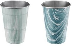 by Cambridge 18oz Blue Marble Stainless Steel All Purpose Cups - Set of 2