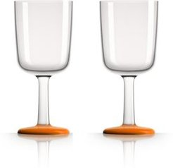 by Palm Tritan Wine Glass with Orange non-slip base, Set of 2