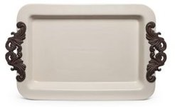 23.75-Inch Long Cream Ceramic Tray with Acanthus Leaf Styled Metal Handles