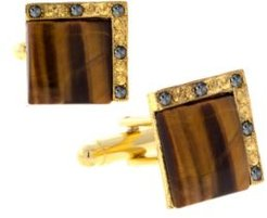 1928 Jewelry 14K Gold Plated Tiger's Eye Square Cufflinks