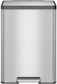Eco-Casa Ii Brushed Stainless Steel 45L Rectangular Step Trash Can