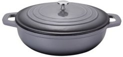"""Cream Enamelled Cast Iron Low Swallo Casserole Pan with Lid 12"""""""