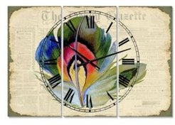 """Colorful Elegant Feather On Old Style Newspaper Ii Large Cottage 3 Panels Wall Clock - 23"""" x 23"""" x 1"""""""