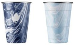 by Cambridge Navy and Light Blue Swirl 18 oz Party Cups - Set of 2