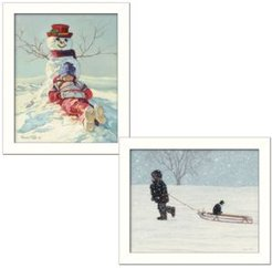"Snow Memories Collection By Bonnie Mohr, Printed Wall Art, Ready to hang, White Frame, 28"" x 18"""