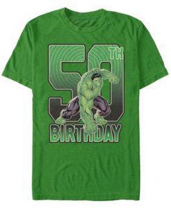 Fifth Sun Men's Marvel Hulk Smash 50th Birthday Short Sleeve T-Shirt