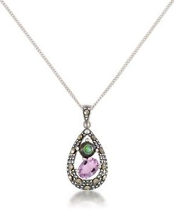"""Marcasite, Amethyst (7/8 ct. t.w.) and Abalone (1-1/2 ct. t.w.) Teardrop Pendant+18"""" Chain in Sterling Silver"""