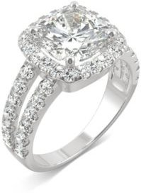 Moissanite Cushion Halo Ring 4-1/4 ct. t.w. Diamond Equivalent in 14k White Gold