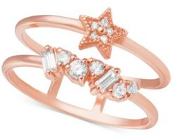 Swarovski Crystal Celestial Double Band Statement Ring in Rose Gold-Plated Brass