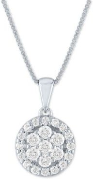 """Forever Grown Diamond Lab Grown Diamond Cluster Circular 18"""" Pendant Necklace (1/2 ct. t.w.) in Sterling Silver"""