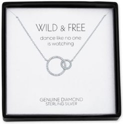 """Diamond Accent Interlocked Circle 18"""" Pendant Necklace in Sterling Silver"""