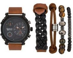 Black/Brown Analog Quartz Watch And Stackable Gift Set