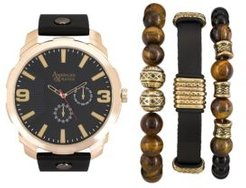 Black/Gold Analog Quartz Watch And Holiday Stackable Gift Set