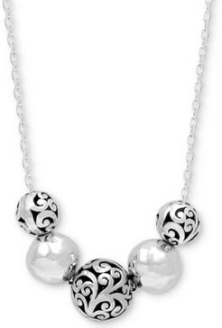 """Filigree & Polished Bead Statement Necklace in Sterling Silver, 16"""" + 2"""" extender"""