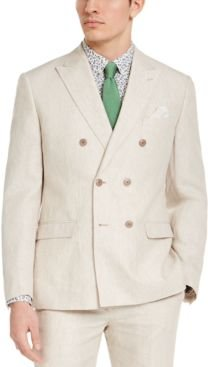 Slim-Fit Tan Solid Double-Breasted Suit Jacket, Created for Macy's
