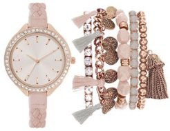Blush Braided Faux Leather Strap Watch 40mm Gift Set